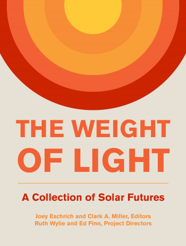 """Cover showing a stylized sun created of differently colored rings, over the title """"The Weight of Light"""""""