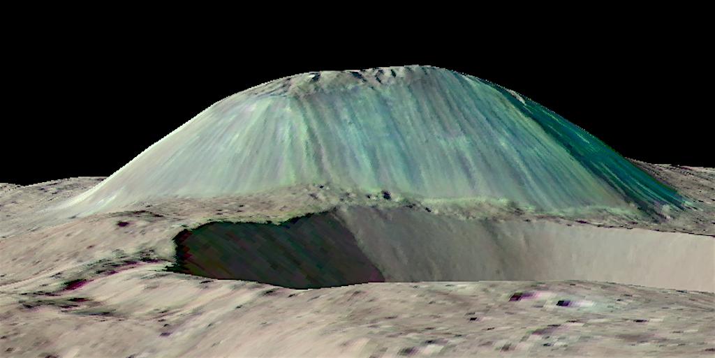 El domo volcánico Ahuna Mons se eleva por encima de un cráter de impacto en primer plano, tal como ha sido observado por la nave espacial Dawn de NASA sin exageración vertical. Las erupciones de agua salada y fangosa construyeron esta montaña a través de erupciones repetidas, flujos y congelación. Su falda está marcada por surcos creados por rocas y escombros al caer; la vista desde arriba muestra fracturas en su cima. Foto cortesía del Equipo Científico de Dawn y de NASA/JPL-Caltech/GSFC.