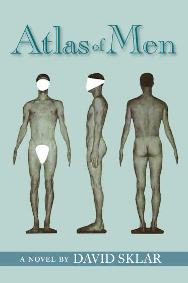 "Cover of ""Atlas of Men"" featuring medical photos of a man's body"