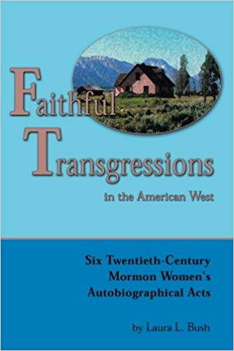 """Cover of """"Faithful Transgressions In The American West"""" featuring a blue background and an illustration of a house"""