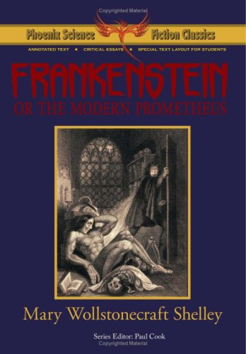 "Cover of ""Frankenstein"" featuring Dr. Frankenstein fleeing his monster"