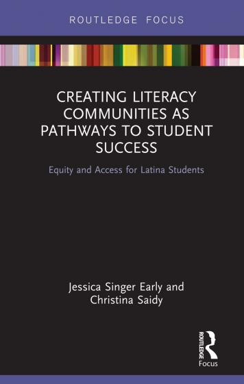 "Cover of ""Creating Literacy Communities as Pathways to Student Success"" by Early and Saidy featuring a black background with color strip at top"