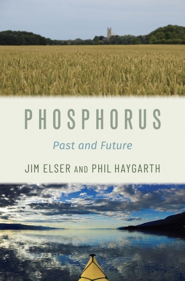 Book cover photo shows an agricultural field above the book title and a kayak on a reflective body of water below the title