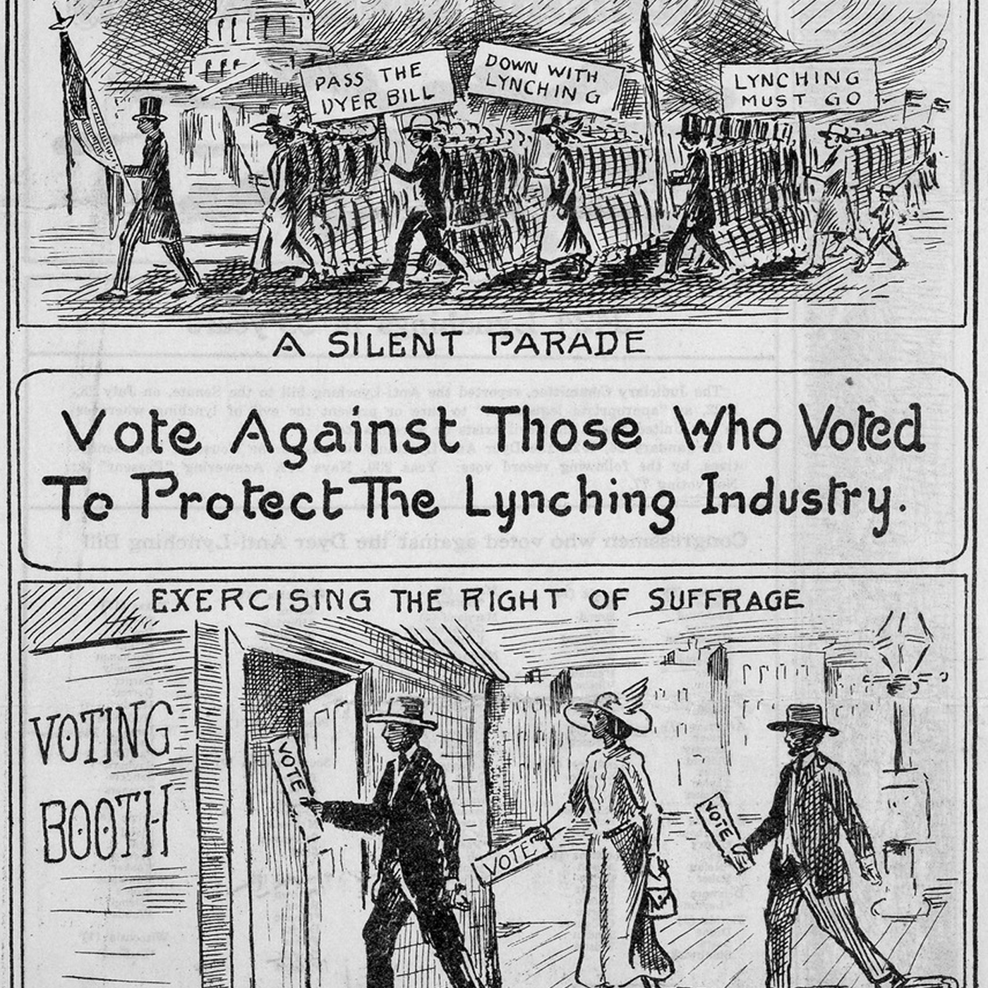 vintage editorial cartoon about voting
