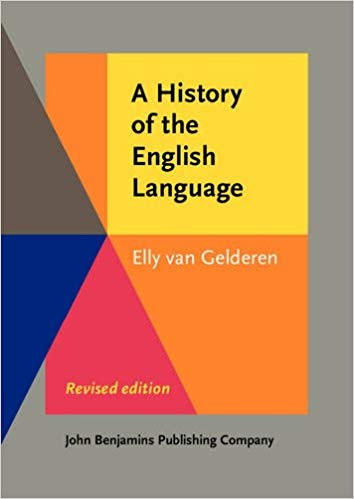 "Cover of ""History of the English Language"" featuring a color-blocked background"