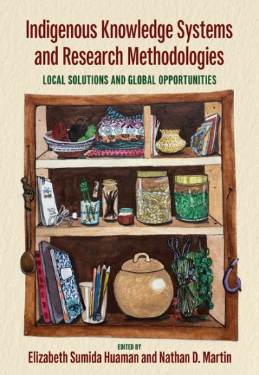 book cover depicting illustration of bookshelf with various items on it