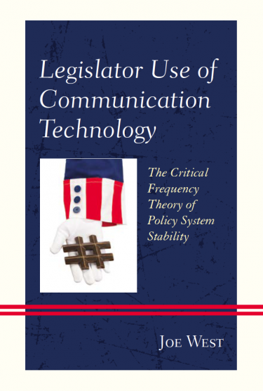 """Cover of """"Legislator Use of Communication Technology"""" featuring Uncle Sam's hand holding a hashtag"""