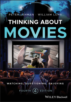 """Cover of """"Thinking about Movies"""" featuring an audience watching a movie of a another person watching a movie of a person watching a movie on a phone"""