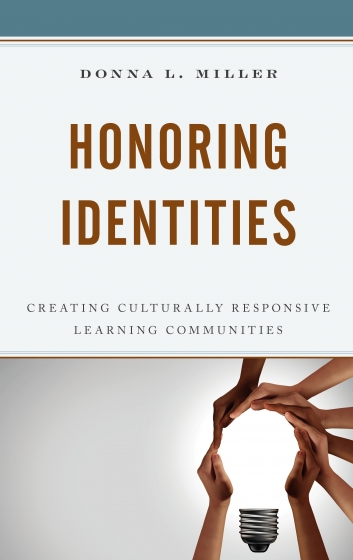 "Book cover for ""Honoring Identities"" with hands making the shape of a lightbulb"