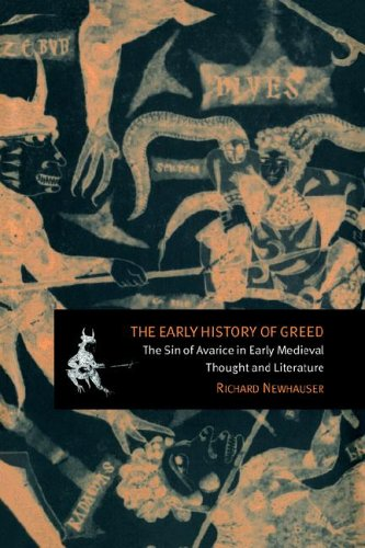 """Cover of """"The Early History of Greed"""" featuring medieval illustrations of men and beasts"""