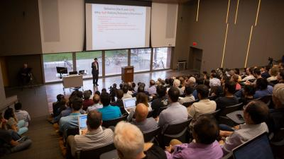 George M. Whitesides spoke about soft robotics to a full auditorium at Arizona State University's Tempe campus on April 4.