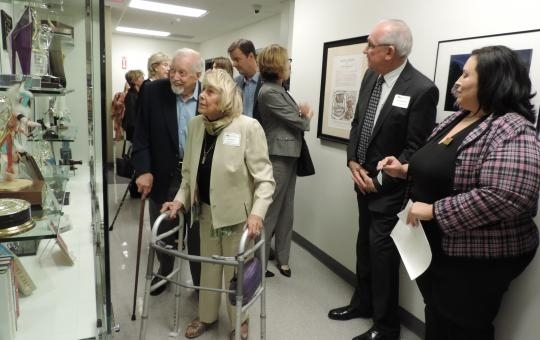 Hugh Downs and wife Ruth in 2013 at the unveiling of memorabilia at ASU