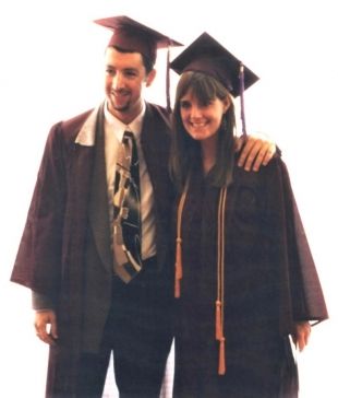 man and woman wearing graduation robes