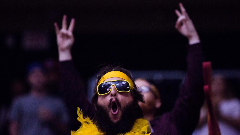 ASU fans cheer on the men's ice hockey team.