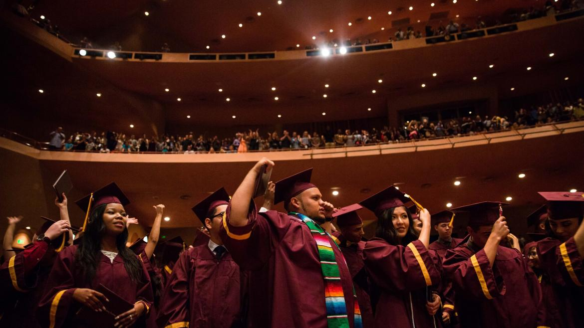 Students cheer at the ASU Prep-Phoenix commencement.