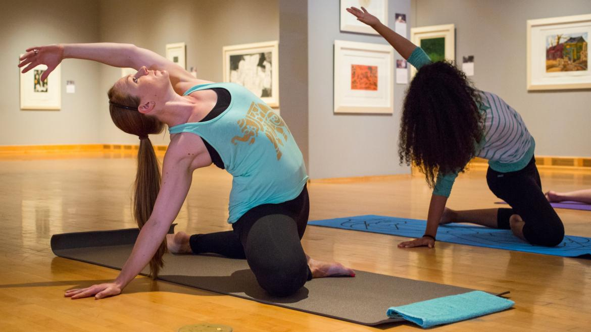 Students practicing yoga in an ASU Art Museum