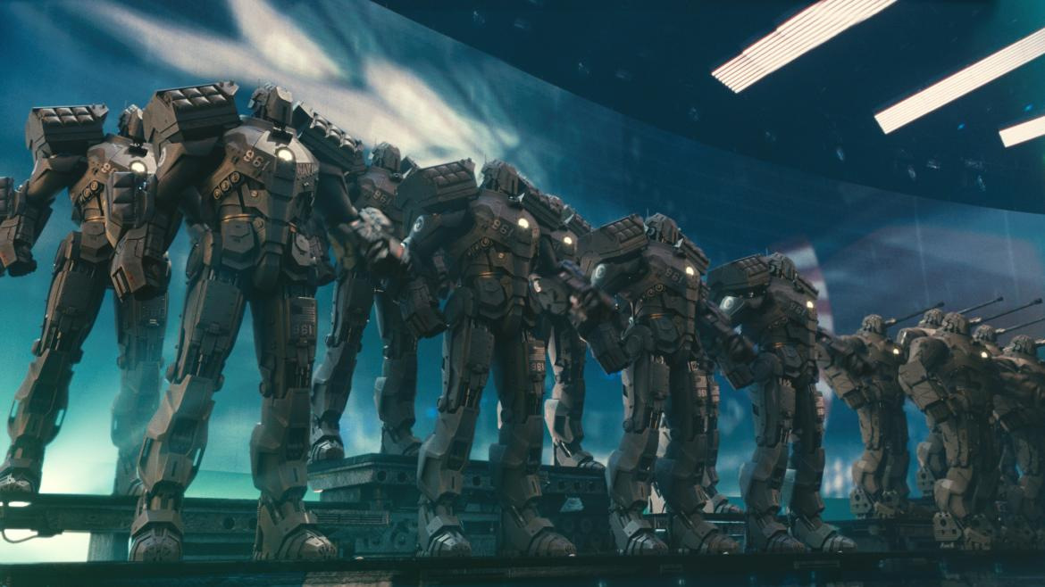 An army of suits of armor from Avengers.