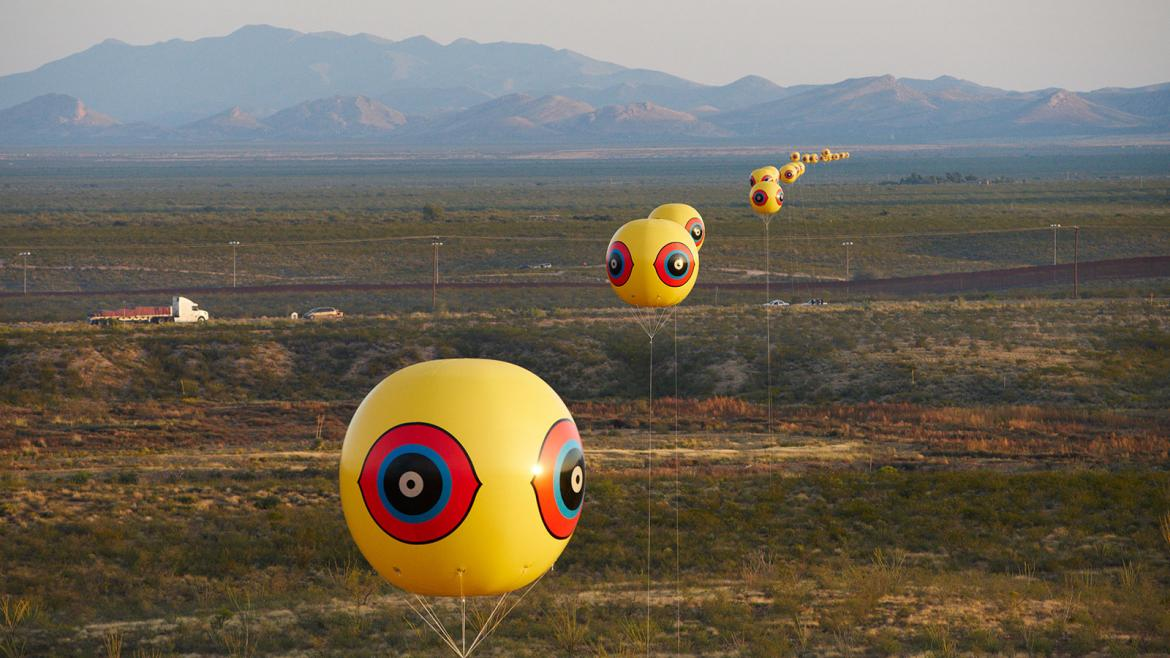 """Repellent Fence"" weather-balloon art installation at the border"