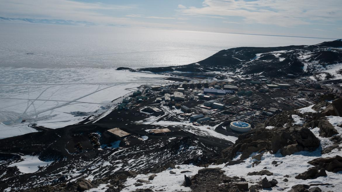 station in Antarctica seen from top of hill