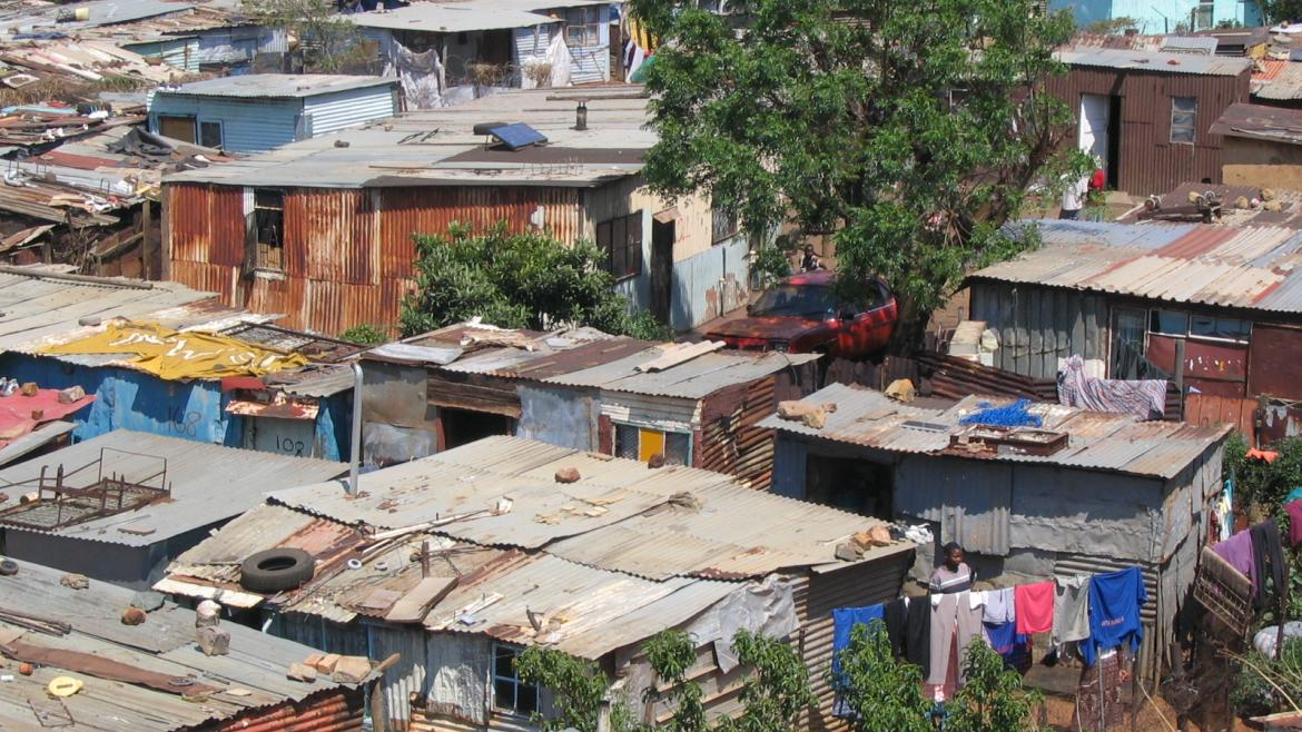 A screenshot of a website with a map of an urban slum.