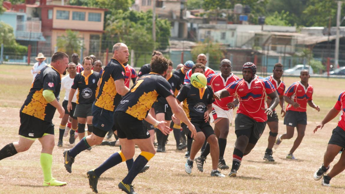 The Thunderbird 'Old Boys' rugby team plays in Cuba in 2015.