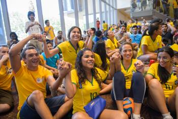 crowd of students attending ASU World Cup viewing party