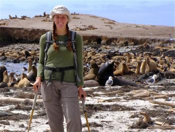 ASU doctoral student Tara Crawford assists researchers