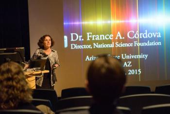 France A. Cordova giving a lecture