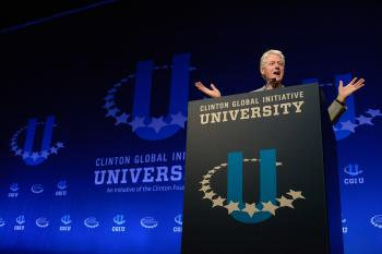 Bill Clinton speaking at CGI U at Arizona State University in 2014