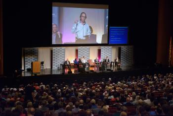 Lawrence Krauss on project screen during Origins Great Debate event
