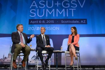three people on stage talking to crowd at ASU+GSV Summit