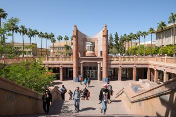 ASU students walking up stairs near Hayden Library