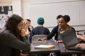 ASU English professor Sybil Durand mentors students in a literature class.