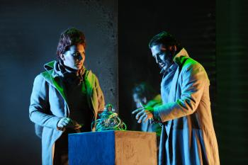 "Marcelino Quiñonez on stage in a production of ""The Fall of the House of Escher"""