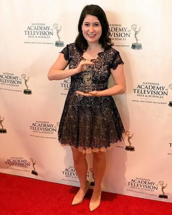 ASU Cronkite student Katie Bieri with her Rocky Mountain Emmy