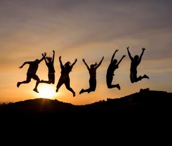 Image of Sun Devils jumping over rocks / ASU brand photo