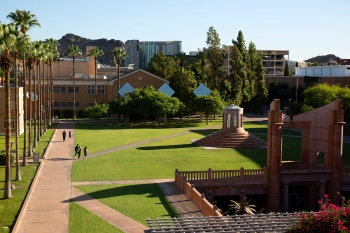 ASU Tempe campus and Hayden Library