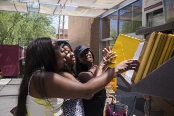 Families outside ASU bookstore in Tempe