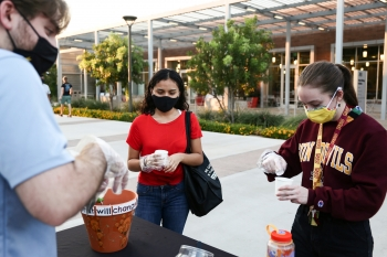 ASU students wearing masks