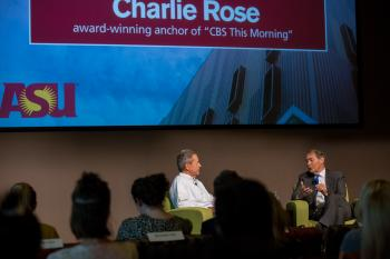 Charlie Rose and Ted Simons giving Q&A to journalism students