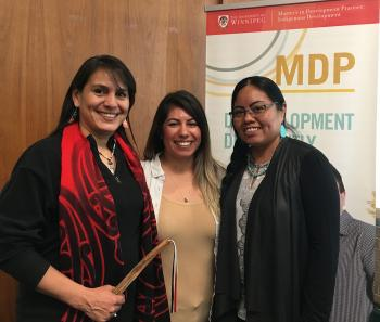 Three winners of the Indigenous 3MT competition