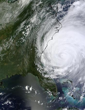 Satellite image of Hurricane Irene.