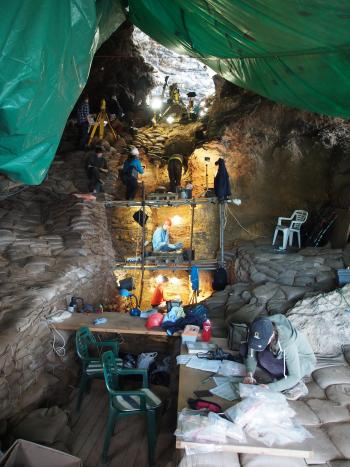 Excavation of the PP5-6 cave site, Mossel Bay, South Africa