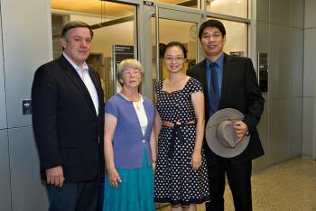 President Michael Crow, Peggy Glick, Yan Liu, Hao Yan