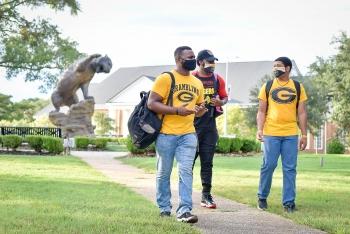 Three Grambling State University students walking on the GSU campus