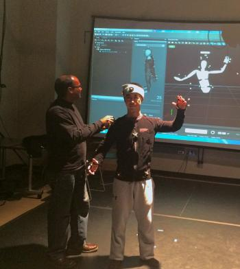professor working with human movement simulations