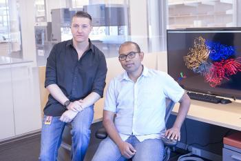 Abhishek Singharoy (right) and his graduate student Darren Thifault