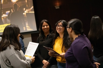 Women chat at an ASU Hispanic Mother Daughter Program event in 2019