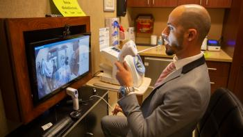 Arizona State University alumnus and AdviNOW Medical Product Director Tarek Saleh demonstrates the artificial-intelligence-enabled Akos Med Clinic