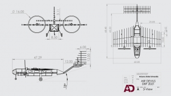 The ASU Air Devils student organization's aircraft design for the AIAA Design/Build/Fly competition.